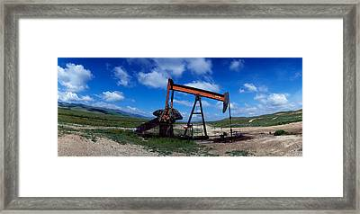 Oil Drill On A Landscape, Taft, Kern Framed Print by Panoramic Images