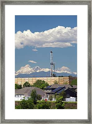 Oil Drilling Rig Near Homes Framed Print by Jim West