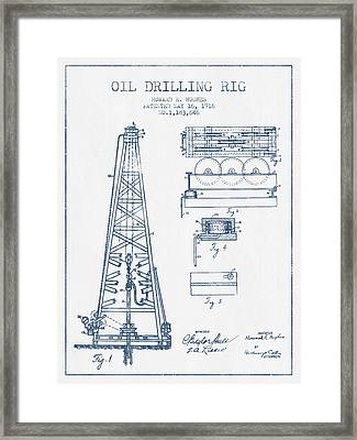 Oil Drilling Rig Patent From 1916 -  Blue Ink Framed Print by Aged Pixel