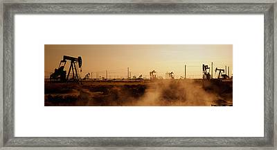 Oil Drills In A Field, Maricopa, Kern Framed Print by Panoramic Images