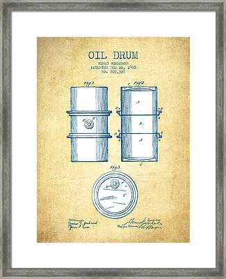 Oil Drum Patent Drawing From 1905 - Vintage Paper Framed Print