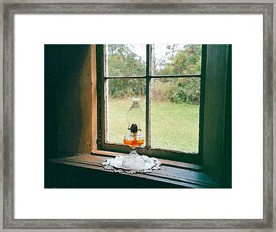 Oil Lamp On Window Framed Print