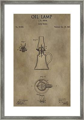 Oil Lamp Patent Framed Print by Dan Sproul