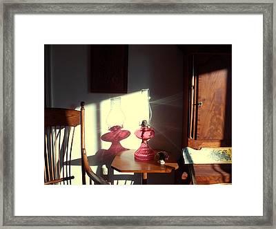 Oil Lamp Reflections Framed Print by Gordon Maull