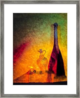 Oil Lamp With Oil And Vinegar Framed Print