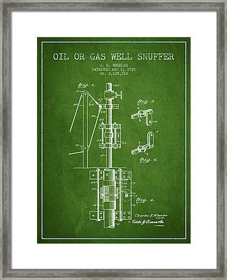 Oil Or Gas Well Snuffer Patent From 1938 - Green Framed Print