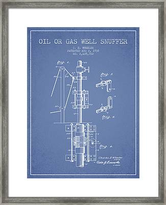 Oil Or Gas Well Snuffer Patent From 1938 - Light Blue Framed Print