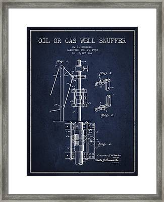 Oil Or Gas Well Snuffer Patent From 1938 - Navy Blue Framed Print