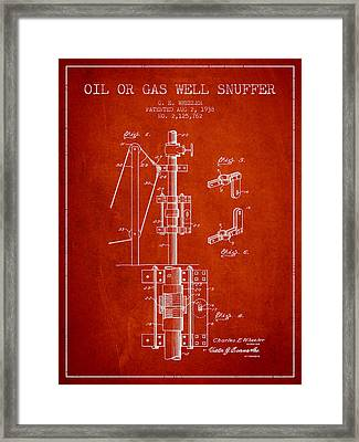 Oil Or Gas Well Snuffer Patent From 1938 - Red Framed Print