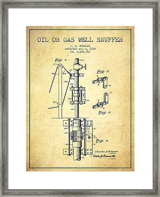 Oil Or Gas Well Snuffer Patent From 1938 - Vintage Framed Print