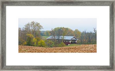 Oil Painted Covered Bridge Framed Print by Brian Mollenkopf
