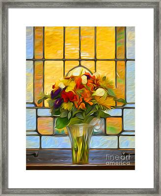 Oil Painted Stained Glass And Bridal Bouquet Framed Print by Brian Mollenkopf