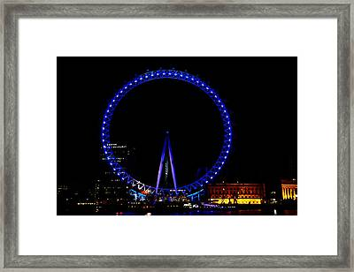 Oil Painting - London Eye In Blue Light At Night Framed Print by Ashish Agarwal