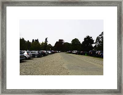 Oil Painting - Parked Vehicles And People Walking Inside The Blair Drummond Safari Park Framed Print