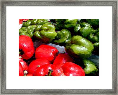 Oil Painting Of Red And Green Peppers Framed Print