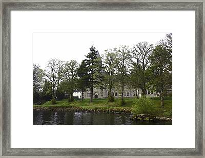 Oil Painting - The Building Of The St Benedict Abbey At The Shore Of Loch Ness Framed Print