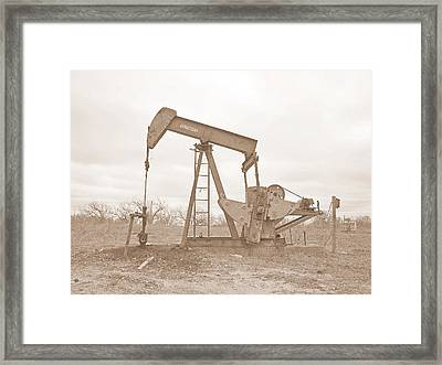 Oil Pump In Sepia Framed Print
