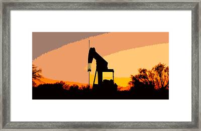 Oil Pump In Sunset Framed Print