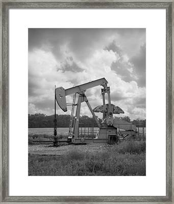 Oil Pump Jack In Black And White Photography Framed Print