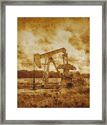 Oil Pump Jack In Sepia Two Framed Print by Ann Powell