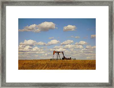 Oil Pump Jack On The Prairie Framed Print by Ann Powell