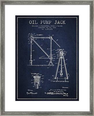 Oil Pump Jack Patent Drawing From 1916 - Navy Blue Framed Print by Aged Pixel