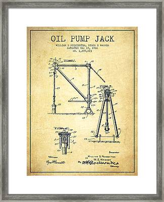 Oil Pump Jack Patent Drawing From 1916 - Vintage Framed Print by Aged Pixel
