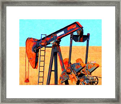 Oil Pump - Painterly Framed Print by Wingsdomain Art and Photography