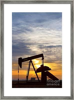 Oil Pumper At Sunrise Vertical Image Framed Print by James BO  Insogna