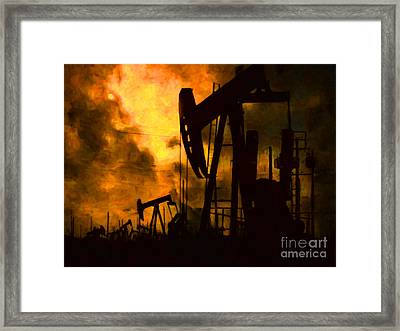 Oil Pumps Framed Print by Wingsdomain Art and Photography
