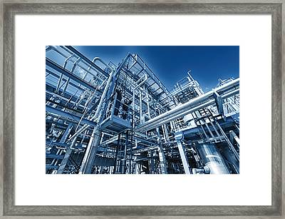 Oil Refinery And Pipelines Construction Framed Print by Christian Lagereek