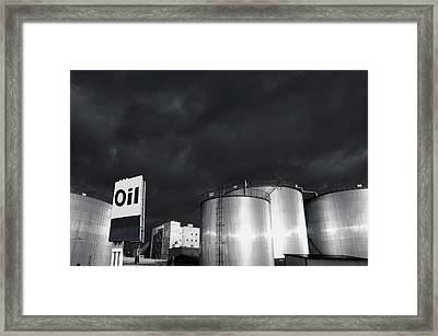 Oil Refinery At Sunset With Commercial Sign Framed Print
