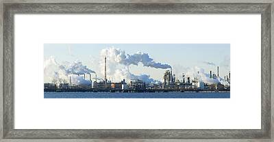 Oil Refinery At The Waterfront Framed Print