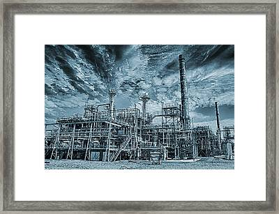 Oil Refinery In High Definition Framed Print by Christian Lagereek