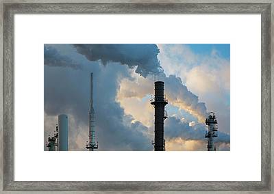 Oil Refinery Towers Framed Print by Jim West