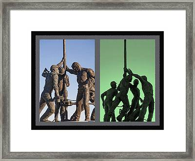Oil Rig Workers Diptych Framed Print by Steve Ohlsen