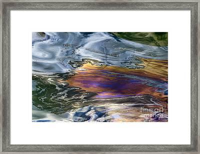 Oil Slick Abstract Framed Print by Sheldon Kralstein