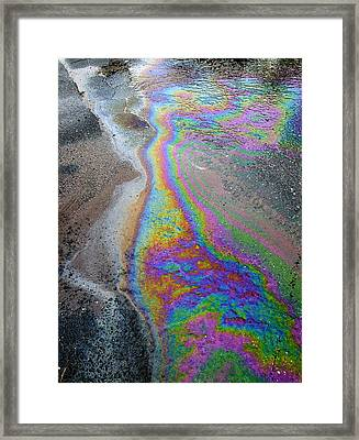 Oil Slick On Water Framed Print