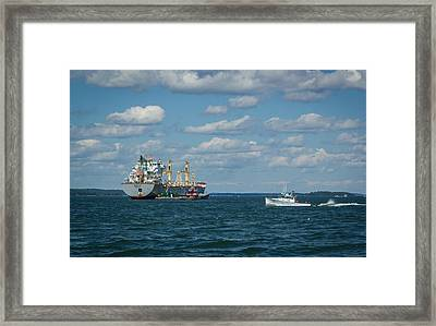 Framed Print featuring the photograph Oil Tanker And Lobster Boat by Jane Luxton