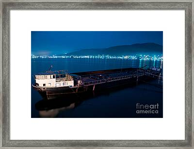 Oil Tanker At Night Framed Print by Ciprian Kis