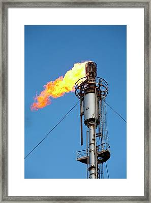 Oil Terminal Flaring Off Gas Framed Print
