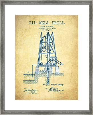 Oil Well Drill Patent From 1903 - Vintage Paper Framed Print
