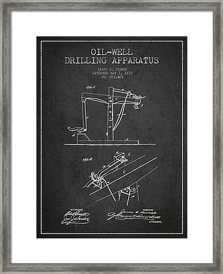 Oil Well Drilling Apparatus Patent From 1878 - Dark Framed Print by Aged Pixel