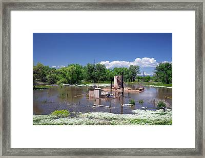 Oil Well Flooded By River Framed Print