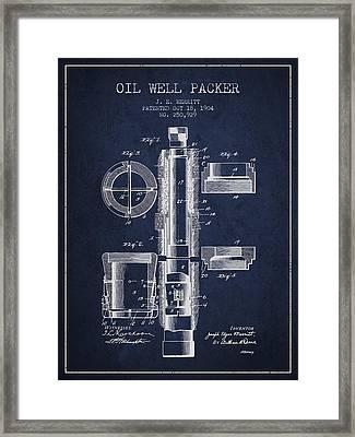 Oil Well Packer Patent From 1904 - Navy Blue Framed Print