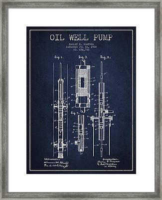 Oil Well Pump Patent From 1900 - Navy Blue Framed Print by Aged Pixel