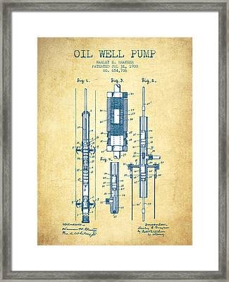 Oil Well Pump Patent From 1900 - Vintage Paper Framed Print