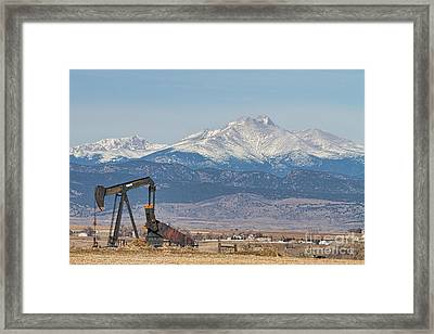 Oil Well Pumpjack And Snow Dusted Longs Peak Framed Print by James BO  Insogna