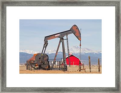 Oil Well Pumpjack Red Barn And Longs Peak Framed Print by James BO  Insogna