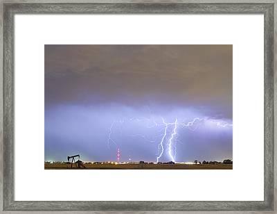 Oil Well Pumpjack Thunderstorm Framed Print